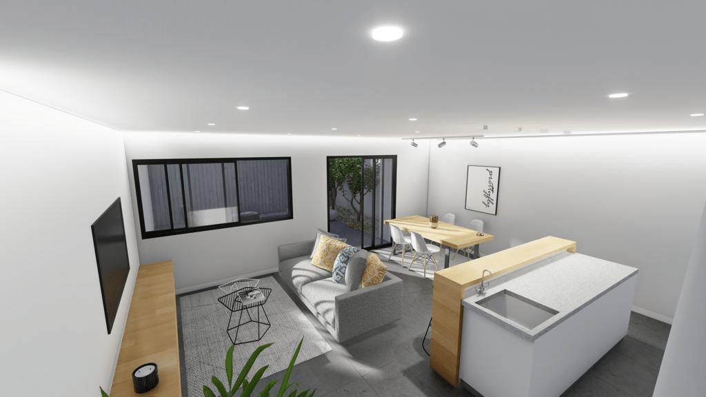 Salón-cocina panorámica 1